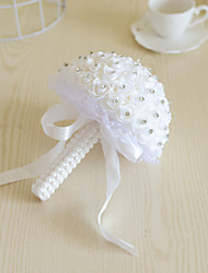 Pure White PE Foam Rose Flower Round Shape with Crystal Rhineston Lace Decoration Bouquets for Bride Wedding