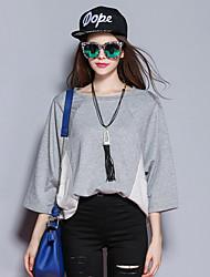 las mujeres Sybel de salir / calle elegante jersey corto, bloque del color gris de cuello redondo larga sleevecotton /