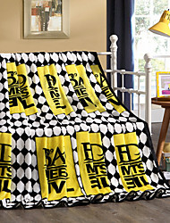 Yellow Fleece fabric blanket summer comforter Air conditioning throw winter soft bedsheet