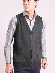 Standard Cardigan Da uomo-Casual A quadri Senza maniche Cotone Autunno