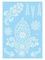 1pc White Henna Temporary Tattoo Women Hand Body Art Tattoo Flower Tattoo Sticker WM-LS1015