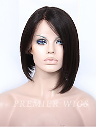 Premierwigs Bob Short Straight Indian Remy Full Lace Wigs Silk Base Lace Front Wigs With Baby Hair Natural Hairline