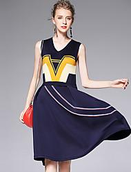 AFOLD® Women's V Neck Sleeveless Knee-length Dress-6013