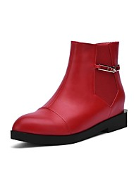 Women's Boots Fall Winter PU Office & Career Casual Low Heel Zipper Black Red Other