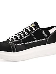 Feminino-Oxfords-Saltos / Plataforma / Creepers / Conforto / Arrendondado / Bico Fechado / Sapatos de Berço-Salto Grosso-Preto / Branco-