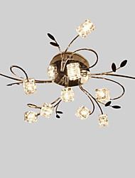 Flush Mount ,  Modern/Contemporary Others Feature for Crystal Metal Living Room Kitchen Dining Room 11 Bulbs