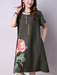 Women's Casual / Vintage Ethnic Print A Line / Loose Dress,Print Short Sleeve White / Green Cotton / Linen Summer
