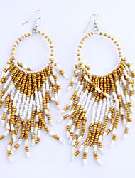 Vintage Fashion Jewelry Long Tassel Dangle Earring Bohemian Colorful Beads Earrings For Women Statement Earrings