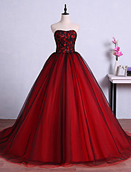 Formal Evening Dress Ball Gown Strapless Sweep / Brush Train Tulle with Crystal Detailing / Lace