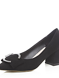 Черный / Серый-Женский-Для праздника / Для вечеринки / ужина-Дерматин-На толстом каблуке-На каблуках-Обувь на каблуках