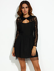 Women's Vintage Sexy Lace Party Stretchy Long Sleeve Above Knee Dress (Lace Spandex)