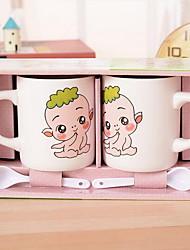 mignon dessin animé prendre des cuillères à café de tasse en céramique
