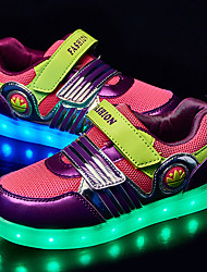Girl's Sneakers Spring Fall Comfort Light Up Shoes Fabric Outdoor Flat Heel Magic Tape LED Purple
