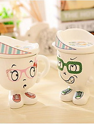 Explosion Models Personalized Cartoon Ceramic Mug with Lid Coffee Cup Milk Cups for Home Office (Random Color)