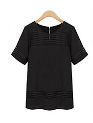 Damen Solide Einfach Lässig/Alltäglich T-shirt,Rundhalsausschnitt Sommer Kurzarm Weiß / Schwarz Polyester Lichtdurchlässig