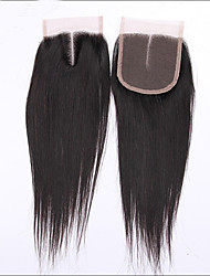 "Natural Color 4""X4"" Middle Part Silk Straight Virgin Peruvian Lace Closure Hair With Baby Hair"