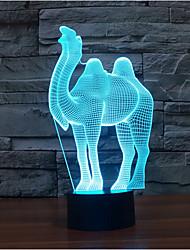 верблюд дотрагивайтесь затемнением 3D LED ночь свет 7colorful украшения атмосфера новизны светильника освещения свет рождества