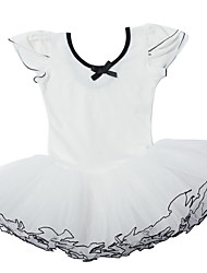 White/Pink One-Piece Classical Girls Ballet Performance Tutu Dresses in Short Sleeve  for 3~8 Years Children