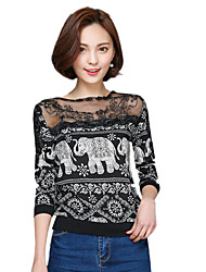 Summer/Fall Women's Casual/Cute T-shirt Round Neck ¾ Sleeve Fashion Lace Spliceing Printing Blouse Tops