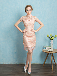 Cocktail Party Dress A-line Square Short / Mini Lace with Lace