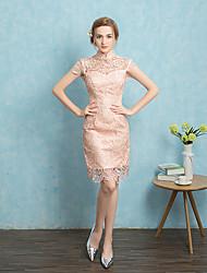 Cocktailparty Kleid A-Linie Quadratisch Kurz / Mini Spitze mit Spitze