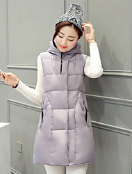 Women's Solid Pink / White / Black / Gray Padded Coat,Simple Hooded Sleeveless Down Vest