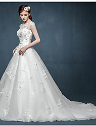 A-line Wedding Dress Court Train Scoop Tulle with Appliques / Beading / Crystal / Sash / Ribbon