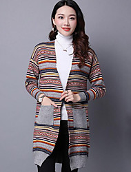 Women's Casual/Daily Vintage / Street chic National Style Pocket Long Cardigan,Striped Gray Cowl Long Sleeve