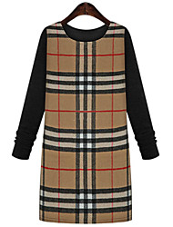 Women's Plus Size Sophisticated Shift Dress,Plaid Round Neck Above Knee Long Sleeve Gray / Yellow Cotton Fall / Winter