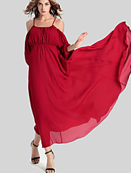 Women's Casual/Daily Simple Swing Dress,Solid Strap Maxi ¾ Sleeve Red Polyester Fall / Winter