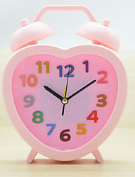 (Color random)Small alarm clock Students watch Creative bedside clock Lovely children cartoon hearts clock