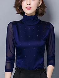 Women's Plus Size / Work Sexy Spring / Fall Slim Blouse Shirts,Mesh Print Dianmonade Turtleneck Blue / Red / Black