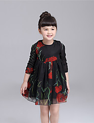 KIMOCAT Girl's Casual/Daily Print Dress,Polyester Spring / Fall Black / White