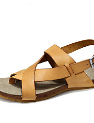 Men's Sandals Summer Sandals / Open Toe Leather Casual Flat Heel Others Yellow / Gray Walking