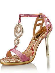 Women's Sandals Club Shoes Synthetic Glitter Wedding Party & Evening Dress Stiletto Heel Rhinestone Pink Silver Gold
