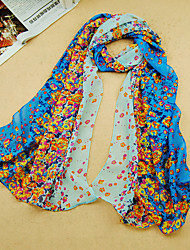 Women's Chiffon Flowers Print Scarf,Pink/Blue/Green/Royal Blue/Black