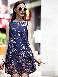 ILOVEKNITTING  Women's Going out Cute Dress,Galaxy Boat Neck Blue Cotton Spring