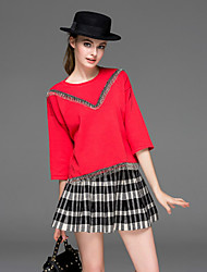 DREAMY LAND  Women's Going out Vintage Spring Set Skirt,Solid / Check Round Neck ¾ Sleeve Red Others Opaque