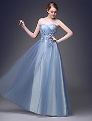 2017 soirée formelle robe d'une ligne chérie parole longueur tulle avec appliques