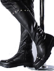 Men's Boots Spring / Fall / Winter Motorcycle Boots Synthetic Party & Evening / Dress Chunky Heel Rivet Black