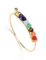 India Yoga Natural Stone Agate Beads Men 7 Chakra Healing Balance Bangle for Women