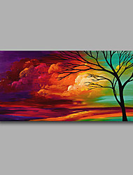 Stretched (Ready to hang) Hand-Painted Oil Painting 100cmx50cm Canvas Wall Art Modern Abstract Green Purple