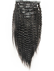 Italian Coarse Yaki Clip In Human Hair Extensions Kinky Straight 6A Brazilian Hair Straight 100% Human Hair