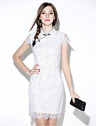 i-yecho einfacher Druck, figurbetontes Kleid der Frauen, Rundhalsausschnitt Mini-Polyester