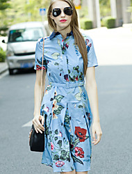 Boutique S Women's Casual/Daily Vintage Shirt DressFloral Shirt Collar Above Knee Short Sleeve Blue Cotton / Polyester