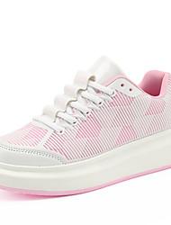 Damen-Sneaker-Lässig Sportlich-Tüll-Flacher Absatz CreepersSchwarz Rosa Weiß