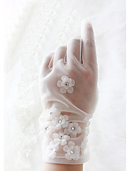 Wrist Length Fingertips Glove Knit Bridal Gloves Spring Summer Fall Winter Appliques