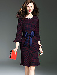 Women's Bow Going out Street chic Trumpet/Mermaid Dress,Print Round Neck Above Knee ¾ Sleeve Red Polyester Fall