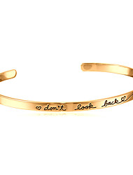 Fashion Letter Bangles Bracelets For Women Don'T Look Back Gold Cuff Bracelets Pulseira Femininal