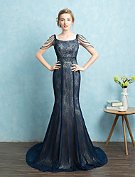 Formal Evening Dress Trumpet / Mermaid Spaghetti Straps Court Train Lace with Sash / Ribbon